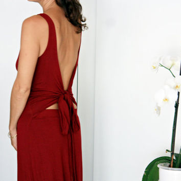 Open back red maxi dress, Convertible backless dress, Goddess red dress