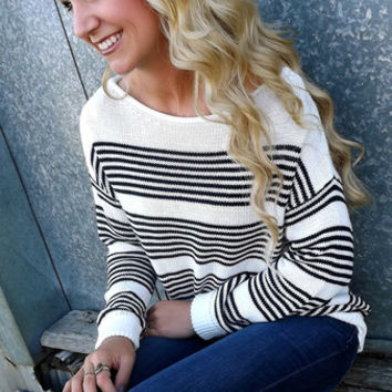 Navy & White Striped Sweater | The Rage