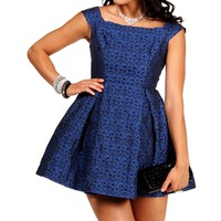 Morgan- Royal Blue Brocade Short Dress