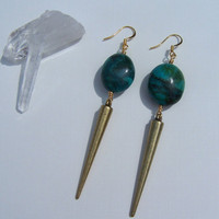 Large Turquoise &amp; Brass Spike Earrings on Etsy