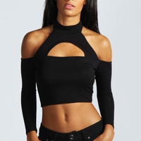 Megan Cut Out Detail 3/4 Sleeve Crop Top