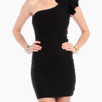 Emma One Shoulder Dress in Black
