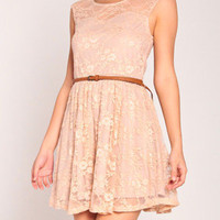 Sweetheart Lacey Dress with Belt in Peach
