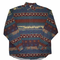 Vintage 90s Southwestern Style Long Sleeve Button Up Shirt Mens Size Large