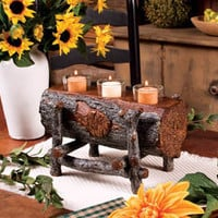 Tree Log Votive Candle Holder