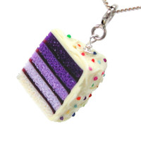 Purple ombre cake necklace by inediblejewelry on Etsy