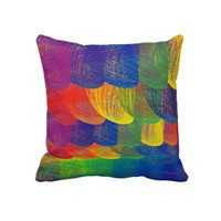 Rainbow Patch II Throw Pillow. Design by Janet Antepara