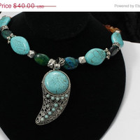 25% OFF SALE Turquoise, Magnesite and Carnelian Pendant Necklace