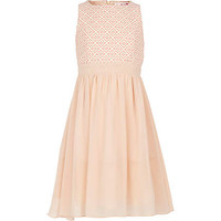 Girls pink jacquard Little MisDress dress