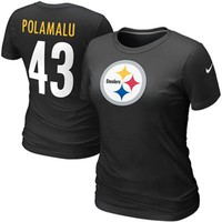Nike Troy Polamalu Pittsburgh Steelers #43 Women's Name & Number T-Shirt - Black