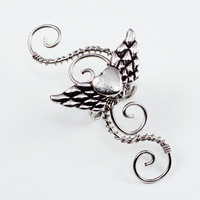 Ear Cuff Silver Winged Heart Swirly Cuff LEFT by ShutUpAndCuffMe