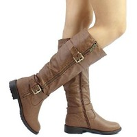 Fab 5 Womens Knee High Buckle Riding Boots Tan