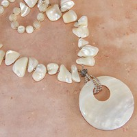 Mother of Pearl Shell Pendant Sterling Necklace Handmade One of a Kind | ShadowDogDesigns - Jewelry on ArtFire