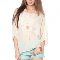 Cream Peasant Blouse - ShopSosie.com