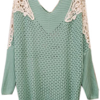 ROMWE | Hollowed Lace Shoulders Green Jumper, The Latest Street Fashion