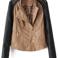 ROMWE | Rivets Shoulders Beige Leather Jacket, The Latest Street Fashion