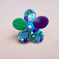 Polymer Clay Ring purple green and by FlowertownOriginals on Etsy