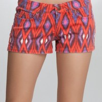 bebe Icon Ikat Print Denim Short