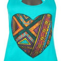 Amazon.com: FULL TILT Ethnic Heart Womens Tank: Clothing