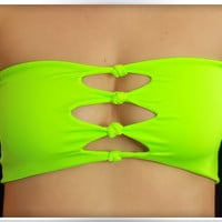 by (ColdReef) Bandeau Neon Yellow - Green, Bikini Top Spandex, Swim Chartreuse, Swimsuit, Knots, Bathing Suit, Hot Bikini
