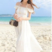 Fashion Lady Bohemia Fashion Boat Neck Maxi Dress White One Size 01...... | paradise - Clothing on ArtFire