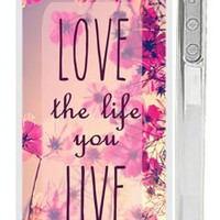 "Trendy Hipster iPhone 4 Case - Pink ""Love the Life You Live"" Quote iPhone Case with Pink Wildflower Field:Amazon:Cell Phones & Accessories"