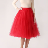 Red tutu tulle skirt, petitcoat long, high quality tutu skirts