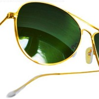 Aviator Sunglasses Classic Style Metal Gold Frame with Green Genuine Glass Lens:Amazon:Clothing
