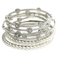 Rhinestone Pearl Bangle Set | Shop Jewelry at Arden B