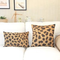 "MagicPieces Cotton and Flax Sexy Leopard Print Decorative Pillow Cover Case 18"" x 18"" Square Shape-animal print-yellow-wild"