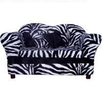 Fantasy Furniture Homey Sofa in Zebra Stripe, Medium, Color:White:Amazon:Pet Supplies