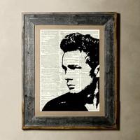 James Dean  Printed on a Vintage Dictionary Page by TheLittleRice