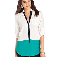 BCX Juniors Top, Three-Quarter Sleeve Roll-Tab Colorblock - Juniors Tops - Macy's
