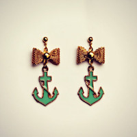 mint anchor  earrings, gold bow earrings, anchor and bow earrings, mint green earrings, nautical earrings