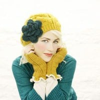 Mustard Yellow Teal Flower Hat by mojospastyle on Etsy