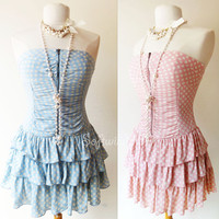 Pink or Light Blue Polka Dot Print Zipper Strapless Tiered Ruffle Skirt Dress