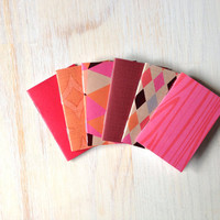 Small Notebooks: Fall Colors, 6 Tiny Journals Set, Autumn, Pink, Orange, Party Favors, Wedding, Journals, Jotters, Mini Journals, Small