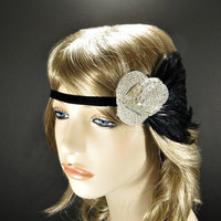 Silver 1920s Headband, Great Gatsby Headpiece, Silver Art Deco Headdress Vintage, 20s Theme Party Wedding, Beaded Black Feather Fascinator