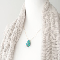 Turquoise Drop Long Necklace (Gold) - turquoise, stone, gold, layering, long
