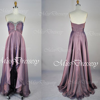 A Line Strapless Sweetheart Front Short Long Back Chiffon Purple Prom Dresses Wedding Party Dresses, Evening Dresses