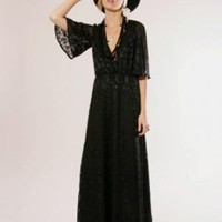 Lace print maxi dress