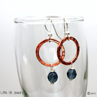 Copper & Blue Earrings, Textured Copper Earrings, Crystal Dangle Earrings, Mixed Metal Earrings