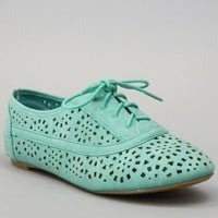 Nature Breeze Cambridge-04 Cut Out Oxford Women Shoes SEA GREEN:Amazon:Shoes