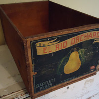 Vintage Wooden Fruit Crate by AnUnexpectedJourney on Etsy