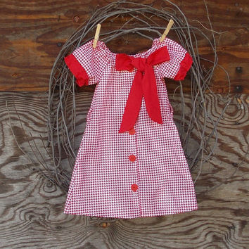 Girls Red Peasant Dress, Button front, hounds tooth with  red sash/bow, Fall Thanksgiving, Christmas, Holidays 12, 18 months, 2 T and 3 T