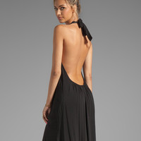 Indah Denver Rayon Chiffon Halter Dress With Flounce Detail in Black