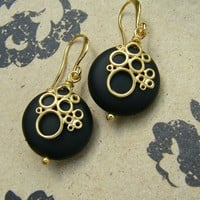 Matte Black Onyx Stone Dangle Earrings. Gold Bubble Drops.