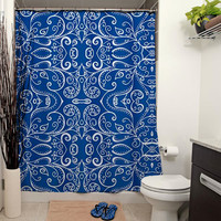 Silent Era, Sapphire Blue Shower Curtain