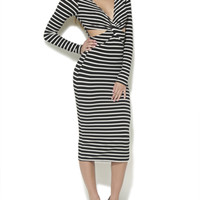 Twist Front Striped Midi Dress | Shop Dresses at Arden B