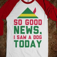 I Saw A Dog Today-Unisex White/Red T-Shirt